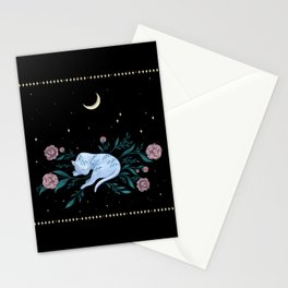 Cat Dreaming of the Moon Stationery Cards