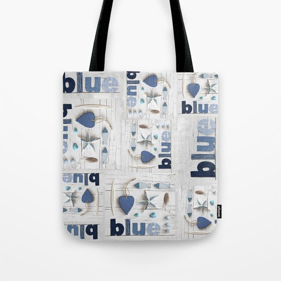 Blue collected items maritime collage Tote Bag
