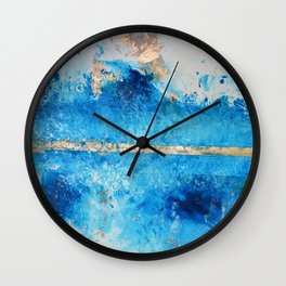 Rainy Day: a pretty minimal abstract mixed media piece in blue & gold by Alyssa Hamilton Art Wall Clock