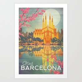 Barcelona Spain Vintage Travel Poster Art Print