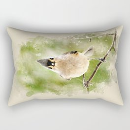 Watercolor Tufted Titmouse Art Rectangular Pillow
