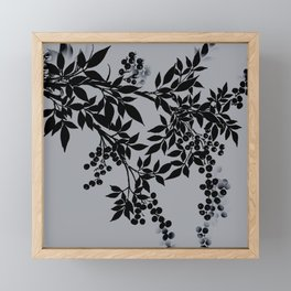TREE BRANCHES BLACK AND GRAY LEAVES AND BERRIES Framed Mini Art Print