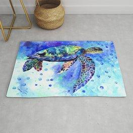 Sea Turtle, Underwater Scene Rug