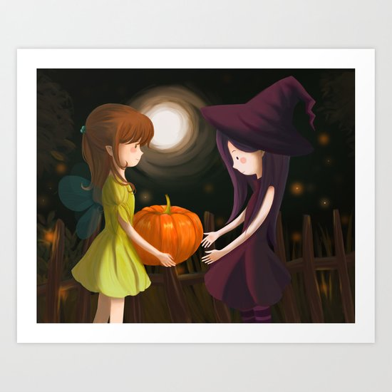 Pumpkin Girls Art Print