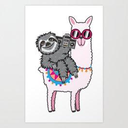 Sloth Music Llama Art Print