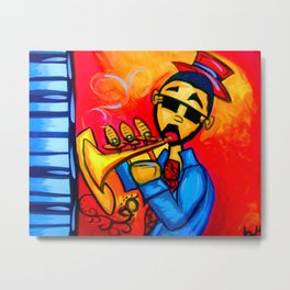 Musician against red background with blue piano keys Metal Print