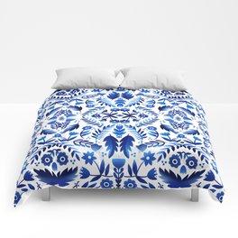 Folk Art Flowers - Blue and White Comforters