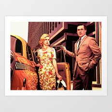 Betty & Don Draper from Mad Men - Painting Style Art Print