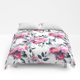 Modern hand painted blush pink yellow gray watercolor floral Comforters