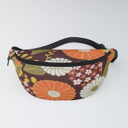 Maroon, Orange, Yellow and Red Retro Flowers Fanny Pack