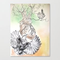Green Bough, Singing Bird Canvas Print