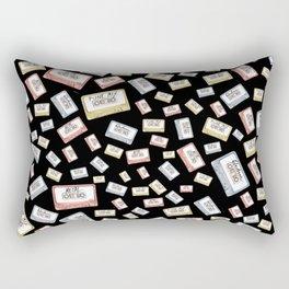 Primary Mixtapes on Black  Rectangular Pillow