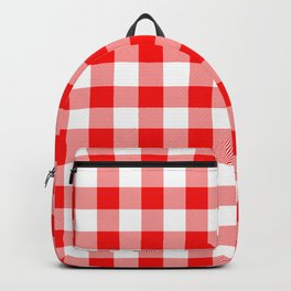 Jumbo Valentine Red Heart Rich Red and White Buffalo Check Plaid Backpack