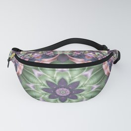 Fractal Ribbon Mandala in Purple, Green, Pink and Yellow Fanny Pack