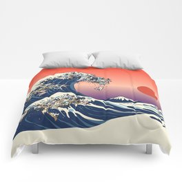 The Great Wave Of  French Bulldog Comforters