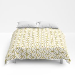 Flower of Life Pattern – Gold & White Comforters