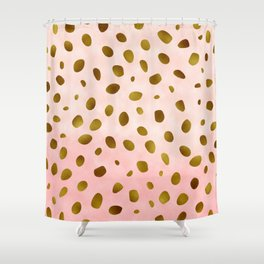 Blush Pink With Gold Foil Animal Print Pattern Shower Curtain