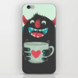 Demon with a cup of coffee iPhone Skin