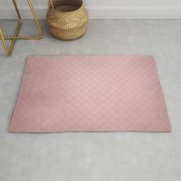 Grunge textured rose quartz small scallop pattern Rug