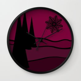 Mulled Berry Wine Snow Flake and Trees Wall Clock