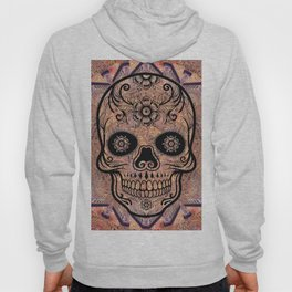 Rubino Vintage Retro Skull Drawing Flower Floral Tattoo Colorful Hoody