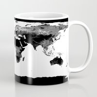 map of the world Mugs featuring World Map  Black & White by WhimsyRomance&Fun