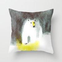 polar bear Throw Pillows featuring Polar Bear by Linette No