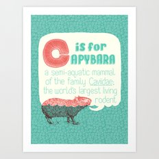 C is for Capybara Art Print