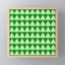 Pattern of white hearts and greens on a lime background. Framed Mini Art Print