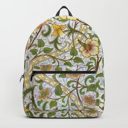 William Morris Narcissus, Daffodil, Calla Lily Textile Floral Print Backpack