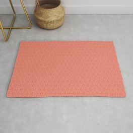 Pantone Living Coral Scallop Wave Pattern and Polka Dots Rug