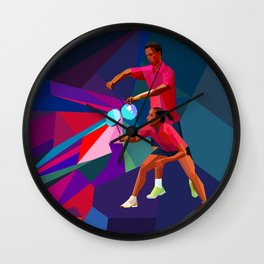 Badminton players in polygonal style. Mixed doubles Wall Clock