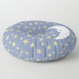 To the Mooon to the Starrs Floor Pillow
