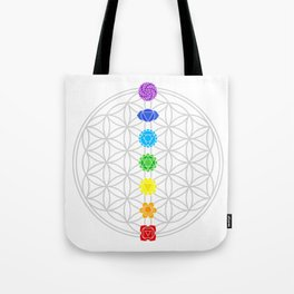 the flower of life and the seven chakras Tote Bag