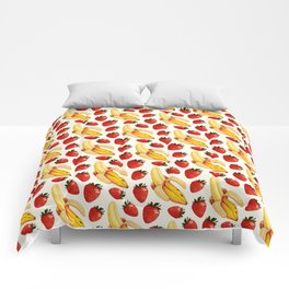 Strawberry Banana Pattern - White Comforters