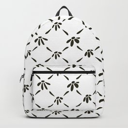 Floral Geometric Pattern Black and White Backpack