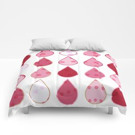 Decorative Drops of pinks and white Pattern Comforters
