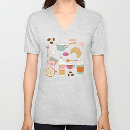 Drawing Coffee in a Café Unisex V-Neck