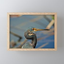 Heron at Six Mile Framed Mini Art Print