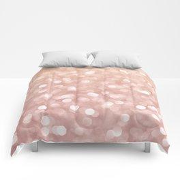 Rosegold Glitter Bokeh Glam Pattern Comforters