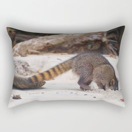 Funny wild racoon feeding in Costa Rica Rectangular Pillow