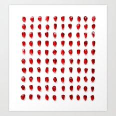pomegranate seeds, organized neatly Art Print