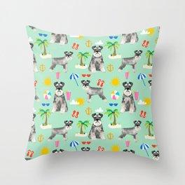 Schnauzer dog breed summer tropical dog pattern gifts schnauzers Throw Pillow