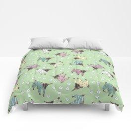 Pajama'd Baby Goats - Green Comforters