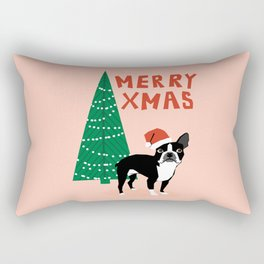 Boston Terrier Xmas - christmas tree holiday pet dog lover gift with boston terrier cute santa hat  Rectangular Pillow