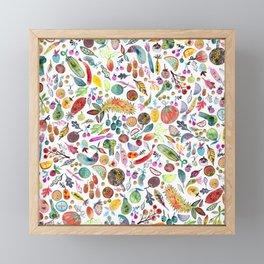Colorful Whimsical Watercolor Fruits Veggies White Pattern Framed Mini Art Print