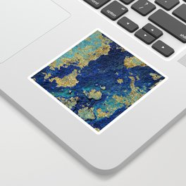 Indigo Teal and Gold Ocean Sticker