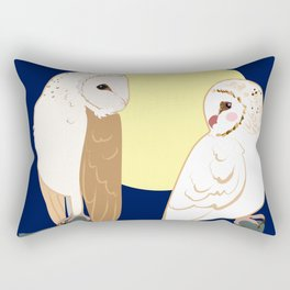 Couple of barn owls and full moon Rectangular Pillow