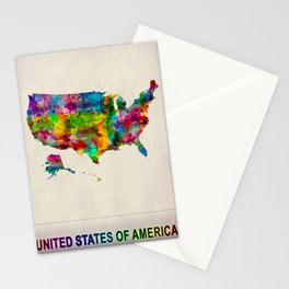 USA Map in Watercolor Stationery Cards
