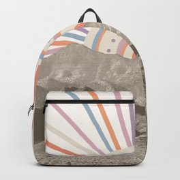 Bohemian Tribal Sun / Abstract Vintage Mountain Happy Summer Vibes Retro Colorful Pastel Sky Artwork Backpack